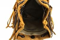 Geanta mica cu franjuri piele naturala Dama Inchis-Gri