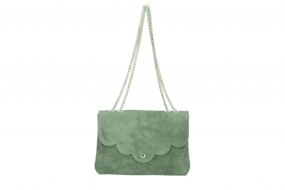Geanta clutch de ocazie piele naturala Genuine Dama Verde-Menta
