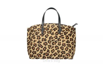 Geanta de mana piele naturala Dama Leopard