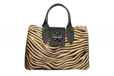 Geanta de mana piele naturala Dama Zebra-Inchis