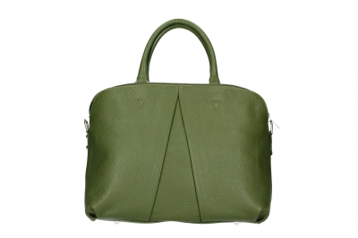 Geanta piele naturala de mana Dama military-Verde