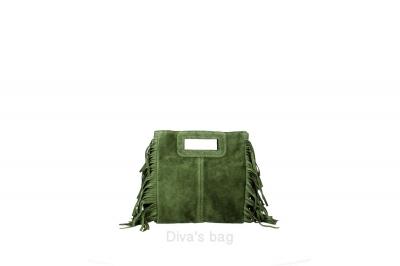 Geanta piele naturala de mana Small Dama military-Verde