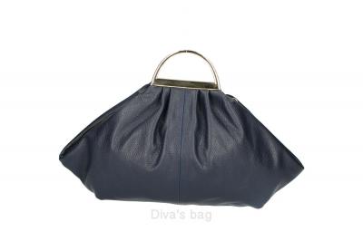 Handbag in piele naturala Dama Albastru-Bleumarin