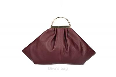 Handbag in piele naturala Dama Bordeaux