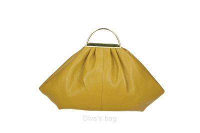 Handbag in piele naturala Dama Galben