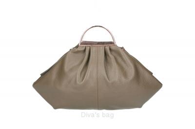 Handbag in piele naturala Dama Inchis-Bej