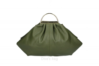 Handbag in piele naturala Dama military-Verde