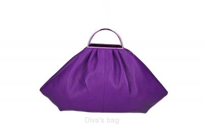 Handbag in piele naturala Dama Mov