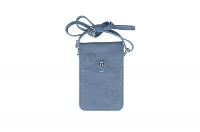 Geanta mica telefon mobil piele naturala Albastru