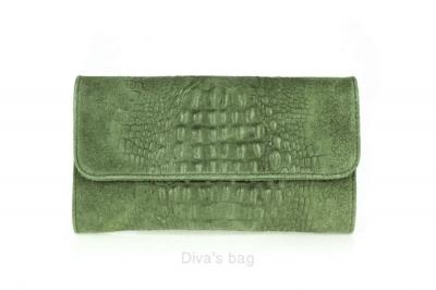 Plic de ocazie cu lant piele naturala Dama military-Verde