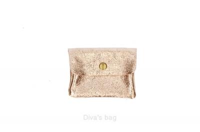 Portofel pentru monede din piele naturala Roz-Auriu