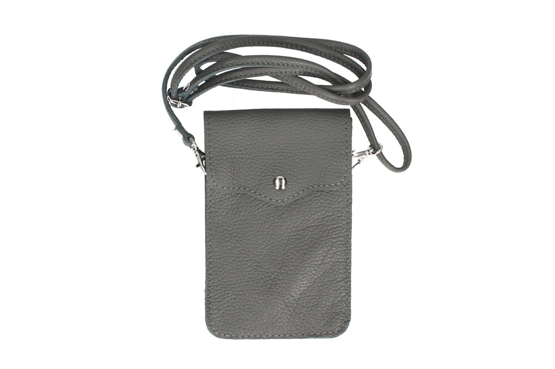Geanta mica telefon mobil piele naturala Inchis-Gri